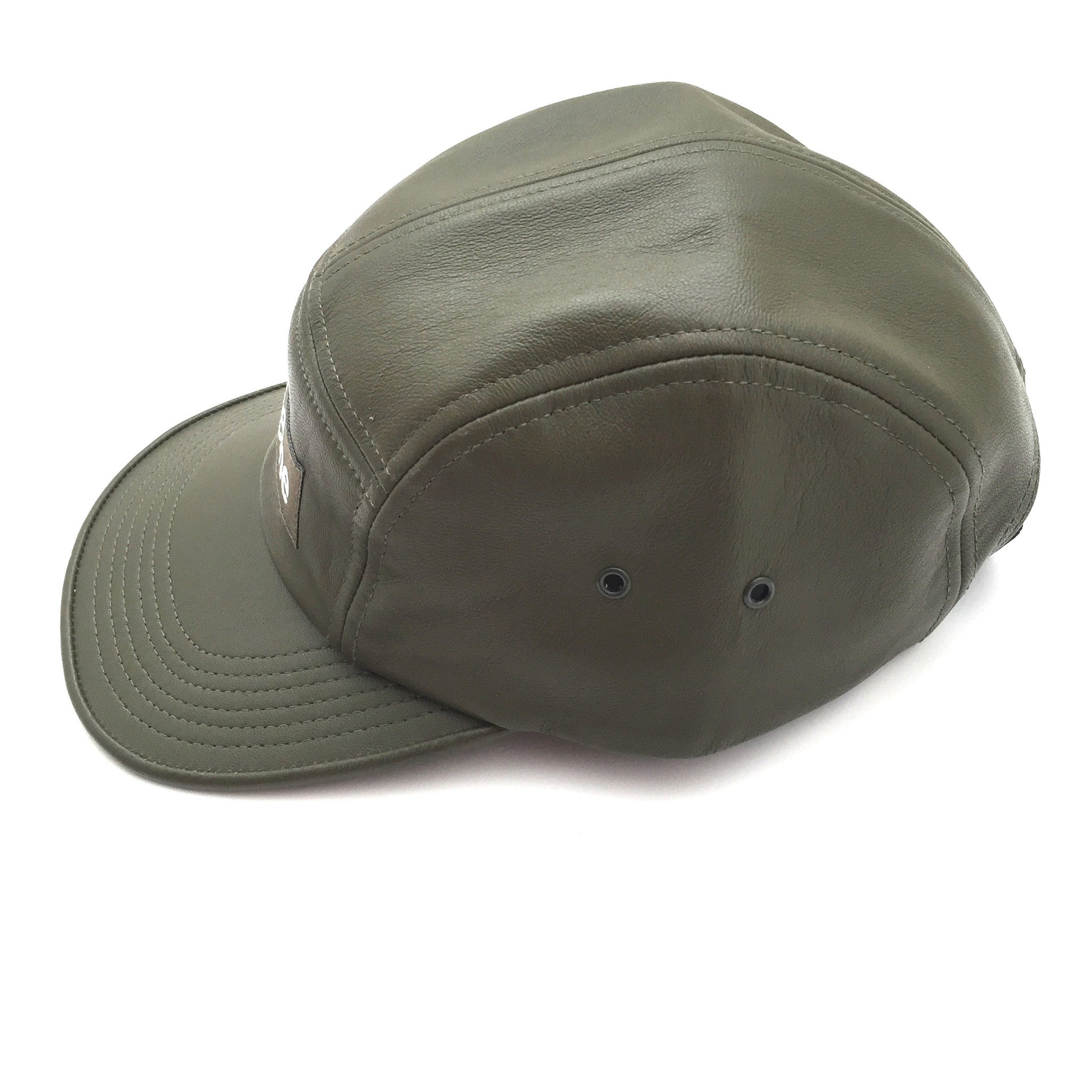 ee415f642aa Supreme Logo Olive Leather Military Style Camp Cap – eluXive