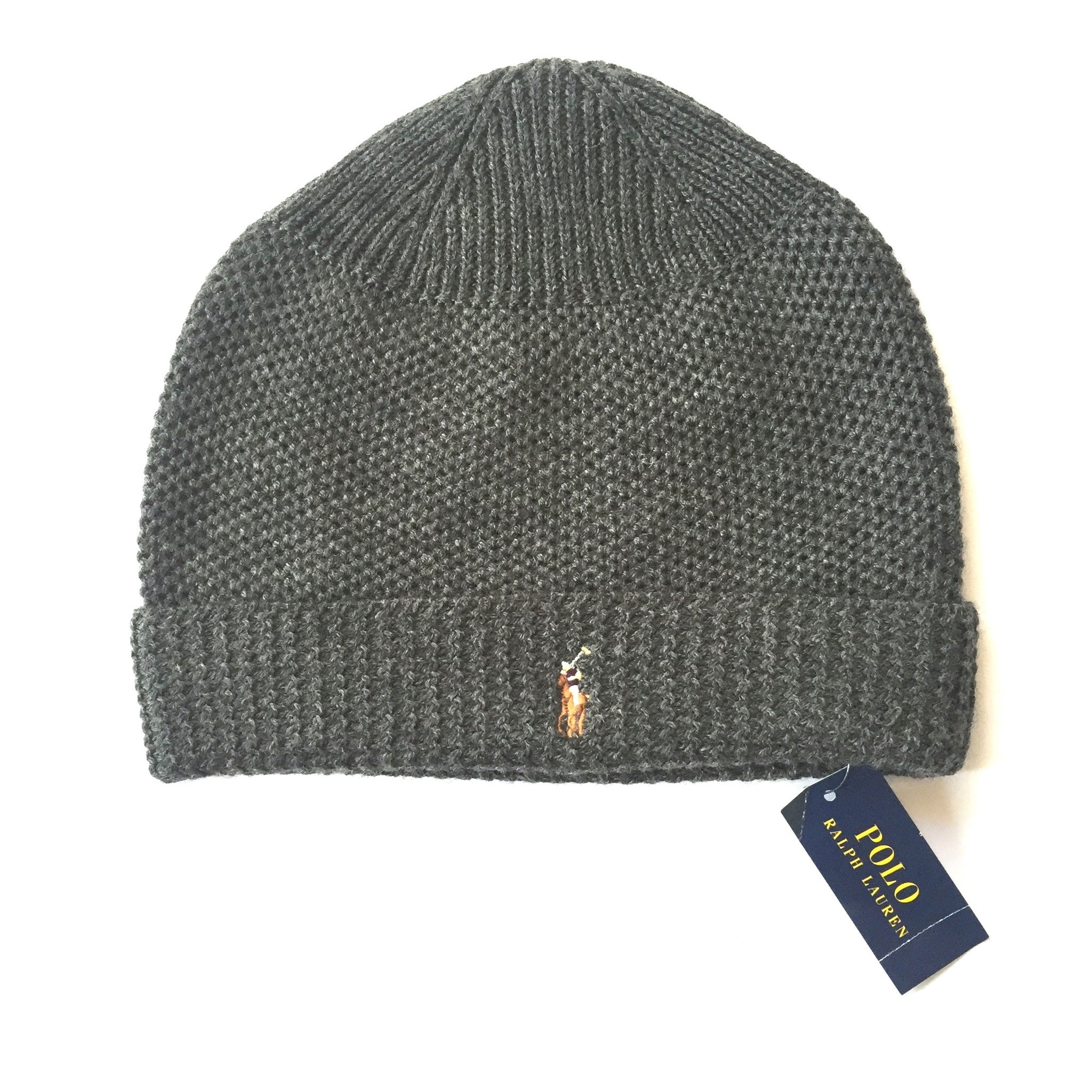 Polo Ralph Lauren - Dark Gray Embroidered Logo Merino Wool Beanie Hat –  eluXive 6181c66c364