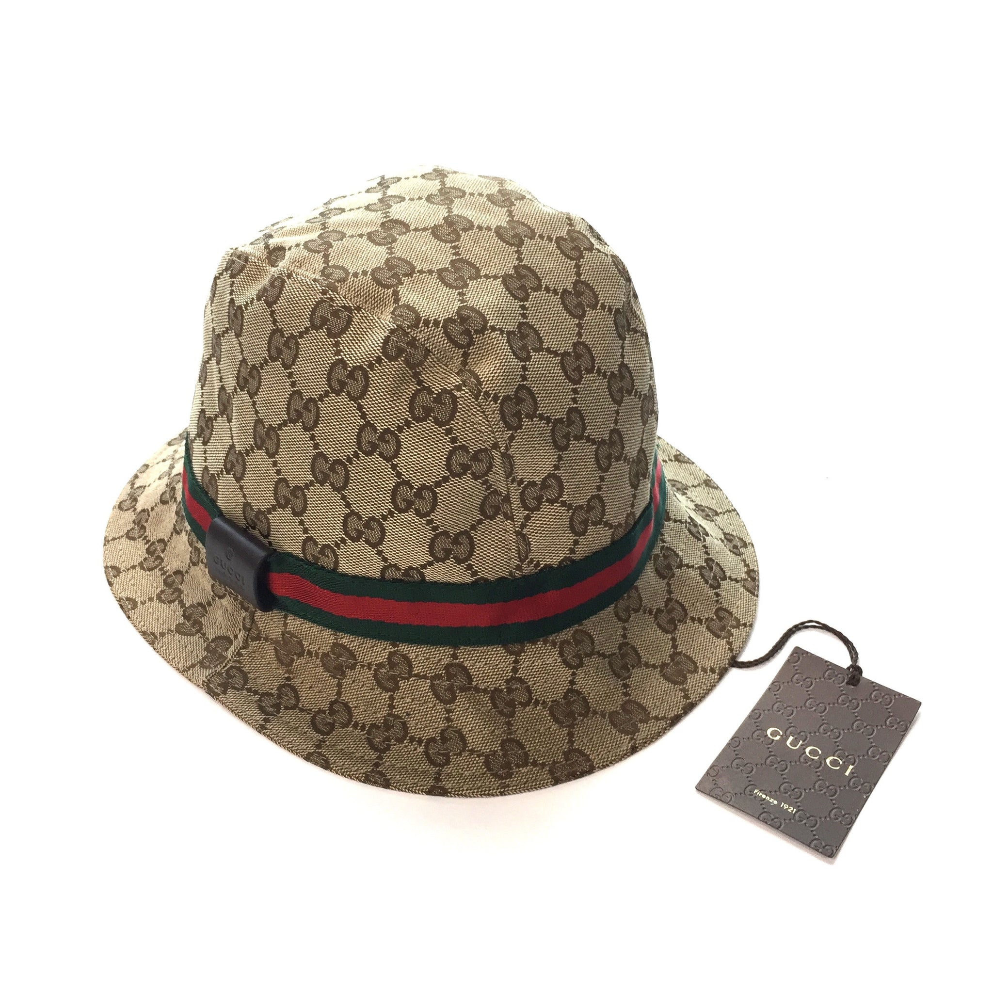 Gucci - Men s Beige Classic GG Logo Monogram Web Stribe Bucket Hat ... 1faf19be44f