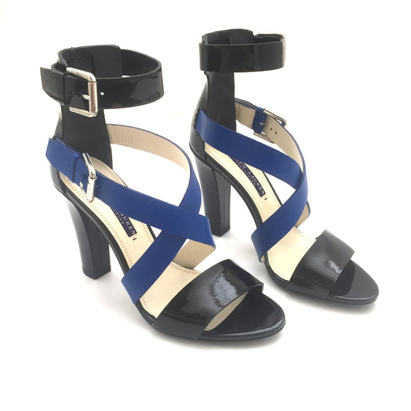 Ralph Lauren - Black & Blue Leather 'Kairo' Heels