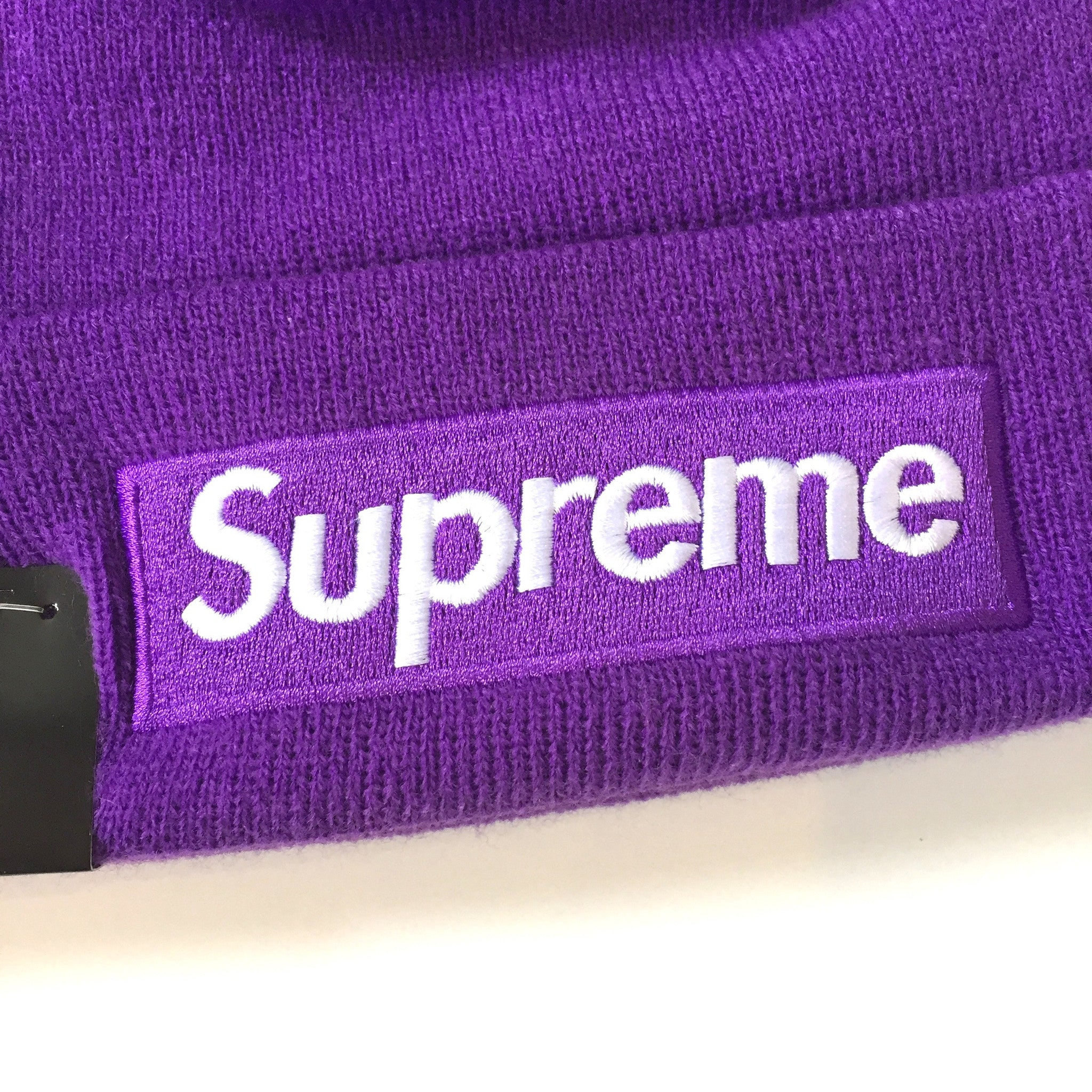 a1f00a0c5cd Supreme x New Era - Purple Box Logo Embroidered Beanie Knit Hat ...