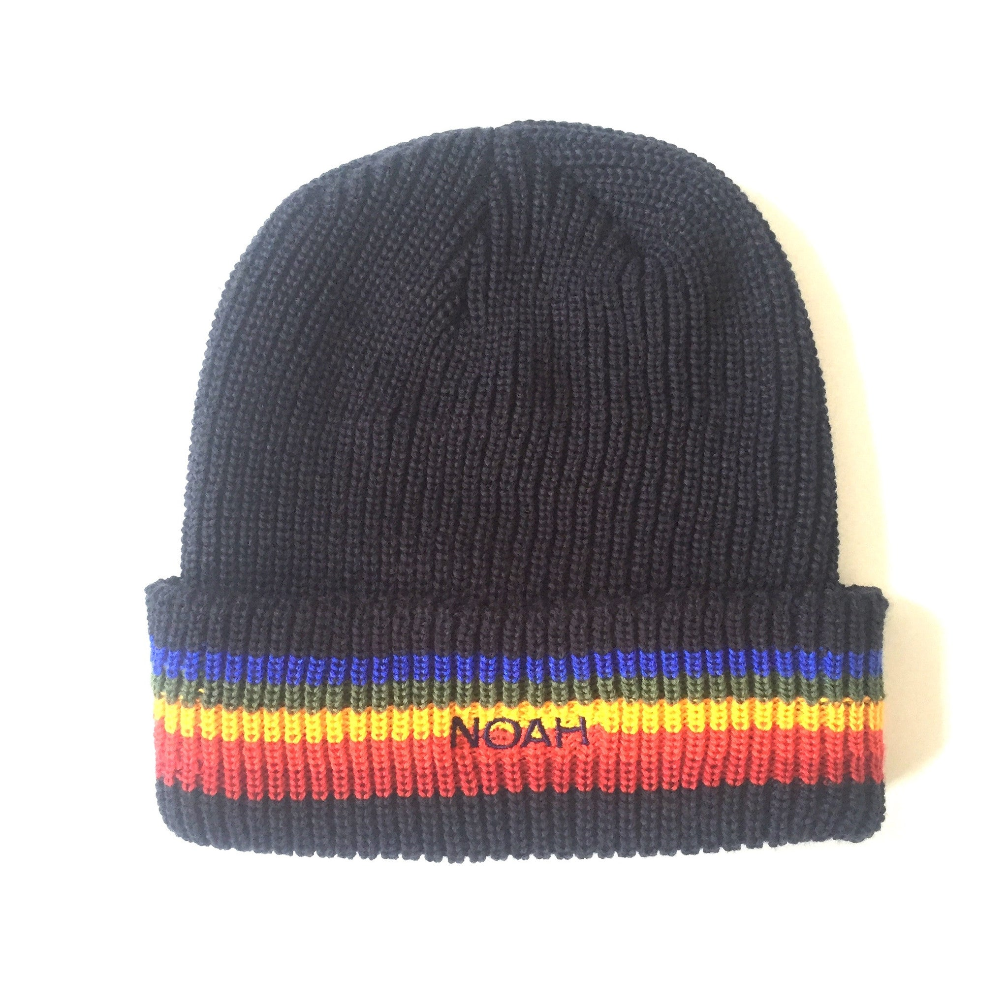 Noah - Navy Blue Logo Embroidered Rainbow Stripe Beanie Hat – eluXive 12de4c91db9