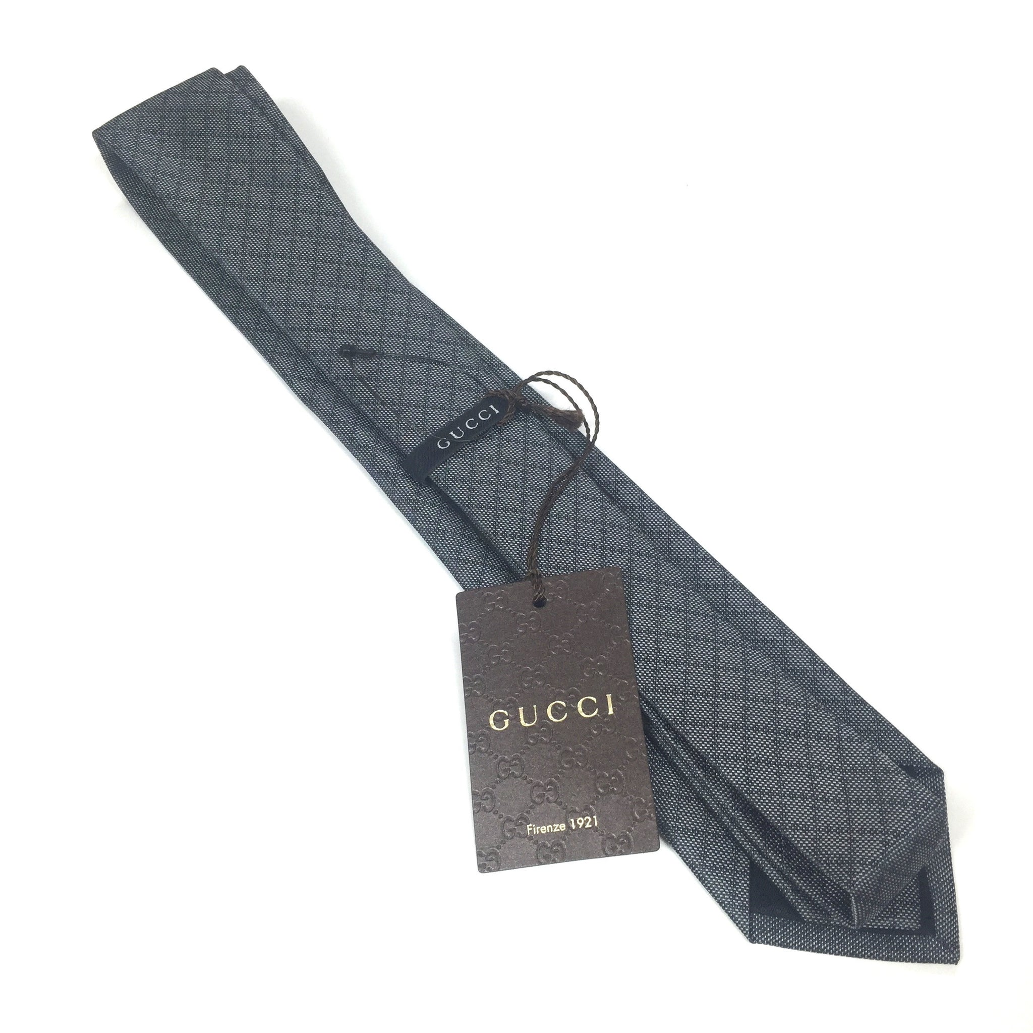 Gucci - Gray Diamante Logo Silk Tie