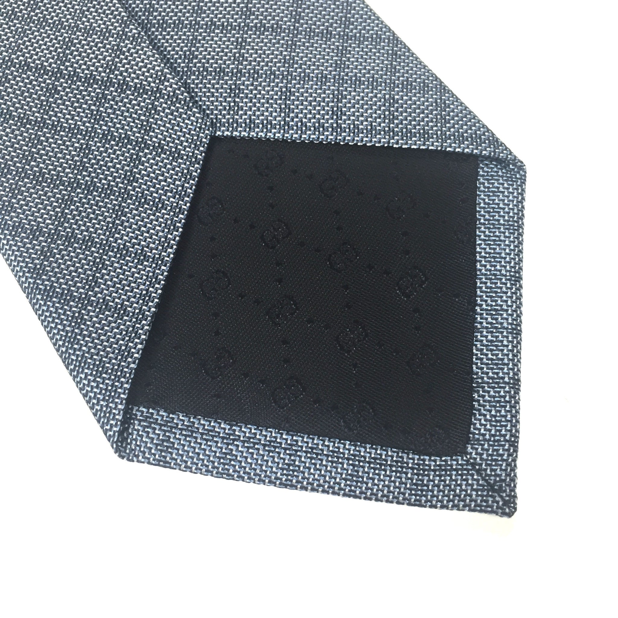 Gucci - Blue Diamante Logo Silk Tie