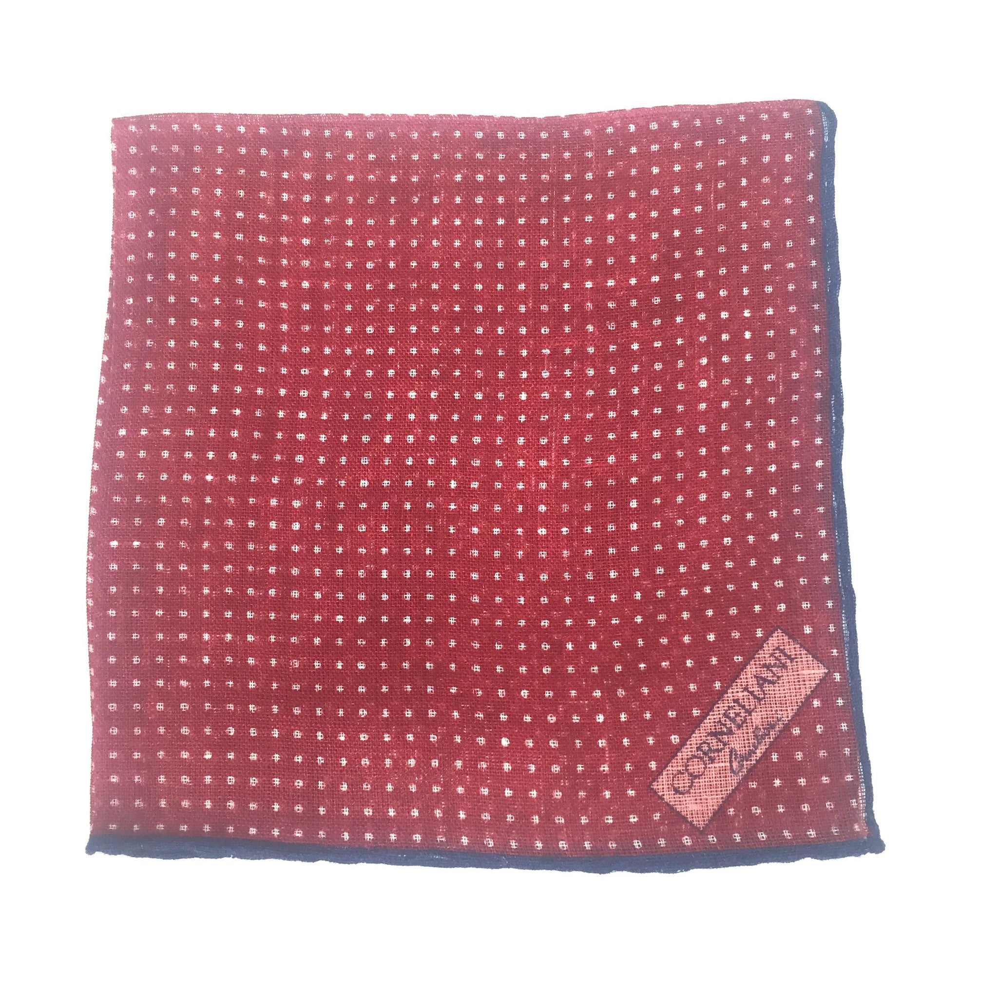 Corneliani - Red Polka Dot Linen Pocket Square