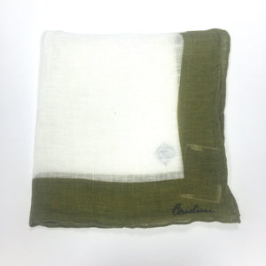 Corneliani - White & Olive Linen Pocket Square