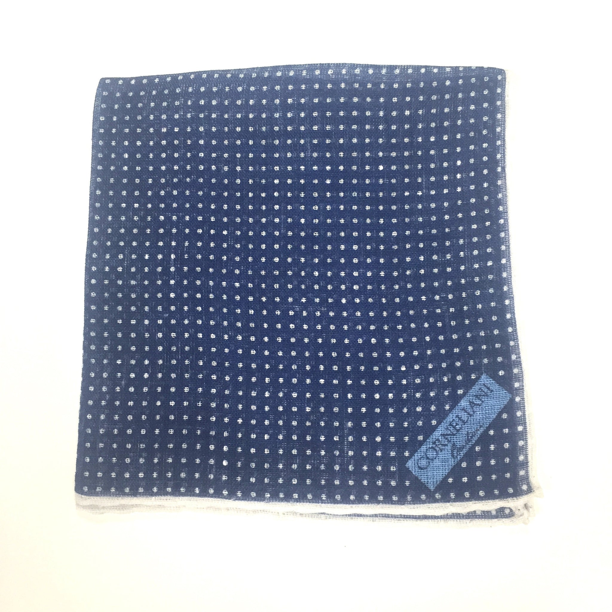 Corneliani - Navy Polka Dot Linen Pocket Square