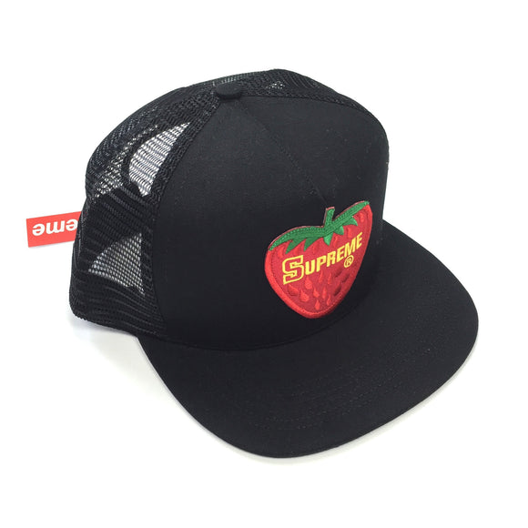 Supreme - Black Strawberry Trucker Hat