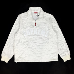 Supreme - White Quilted Arc Logo Pullover