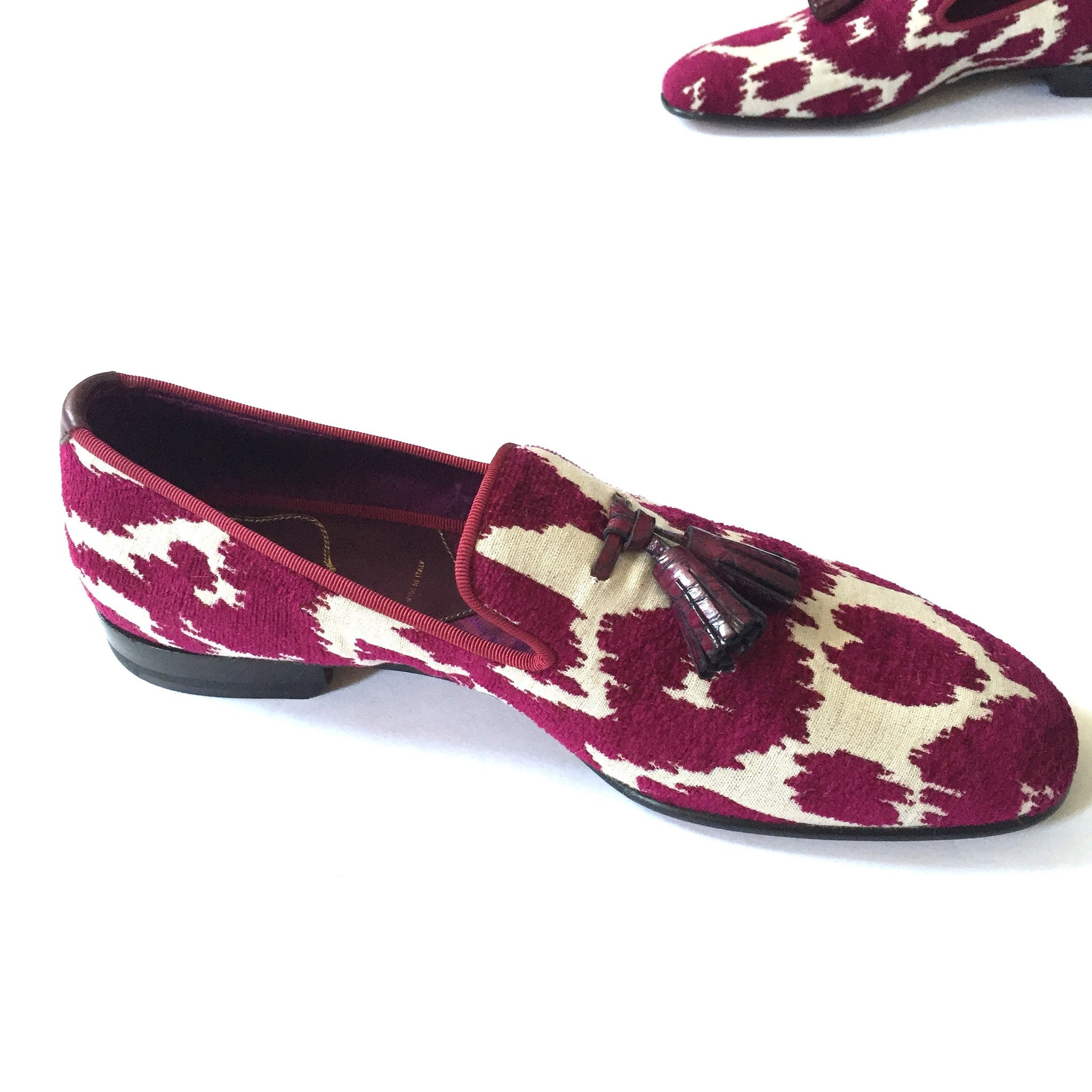 Tom Ford - Magenta Jacquard Croc Tassel Loafers