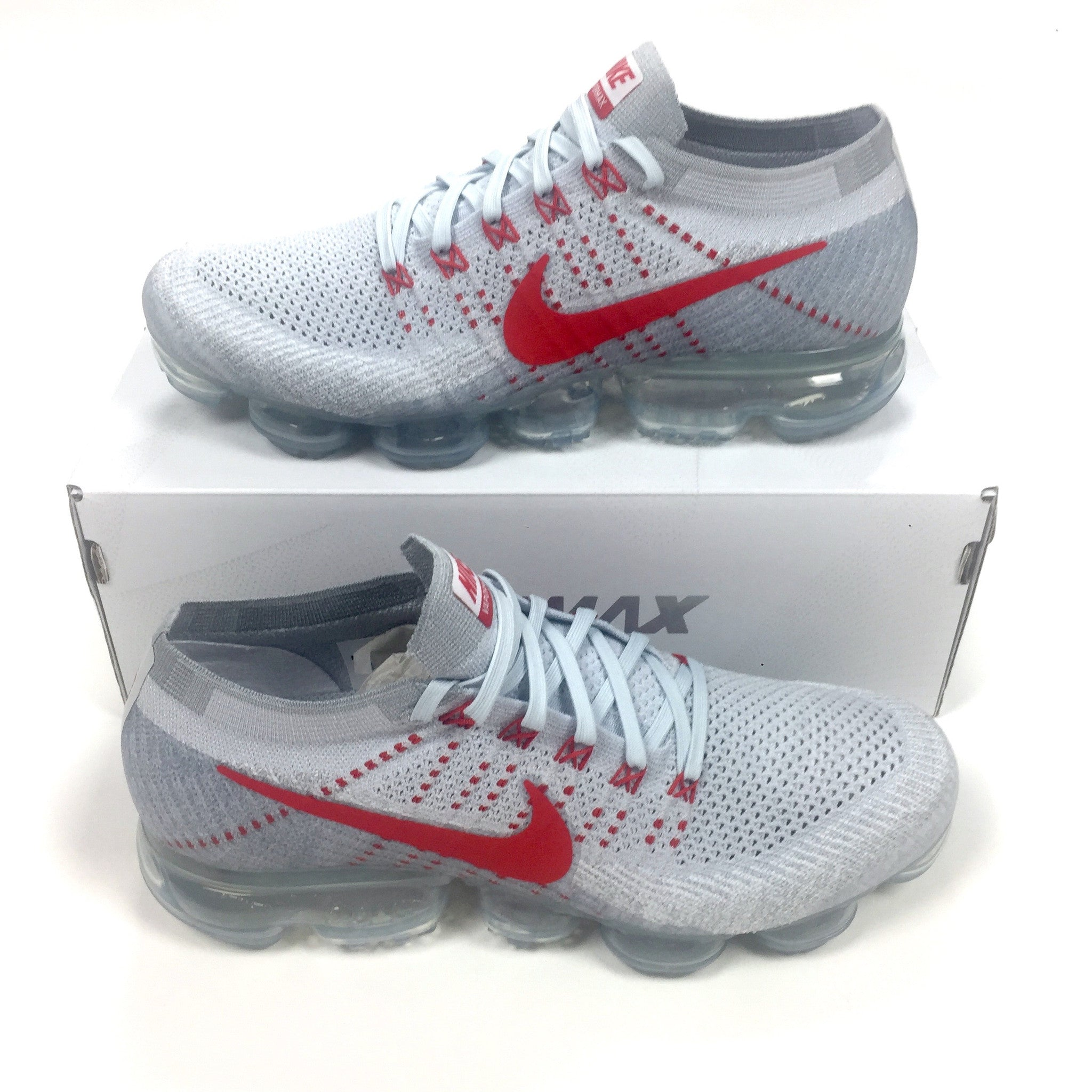 huge discount e3c08 672bc Nike - Men's Air Vapormax Flyknit OG Platinum / White / Red Sneakers ...