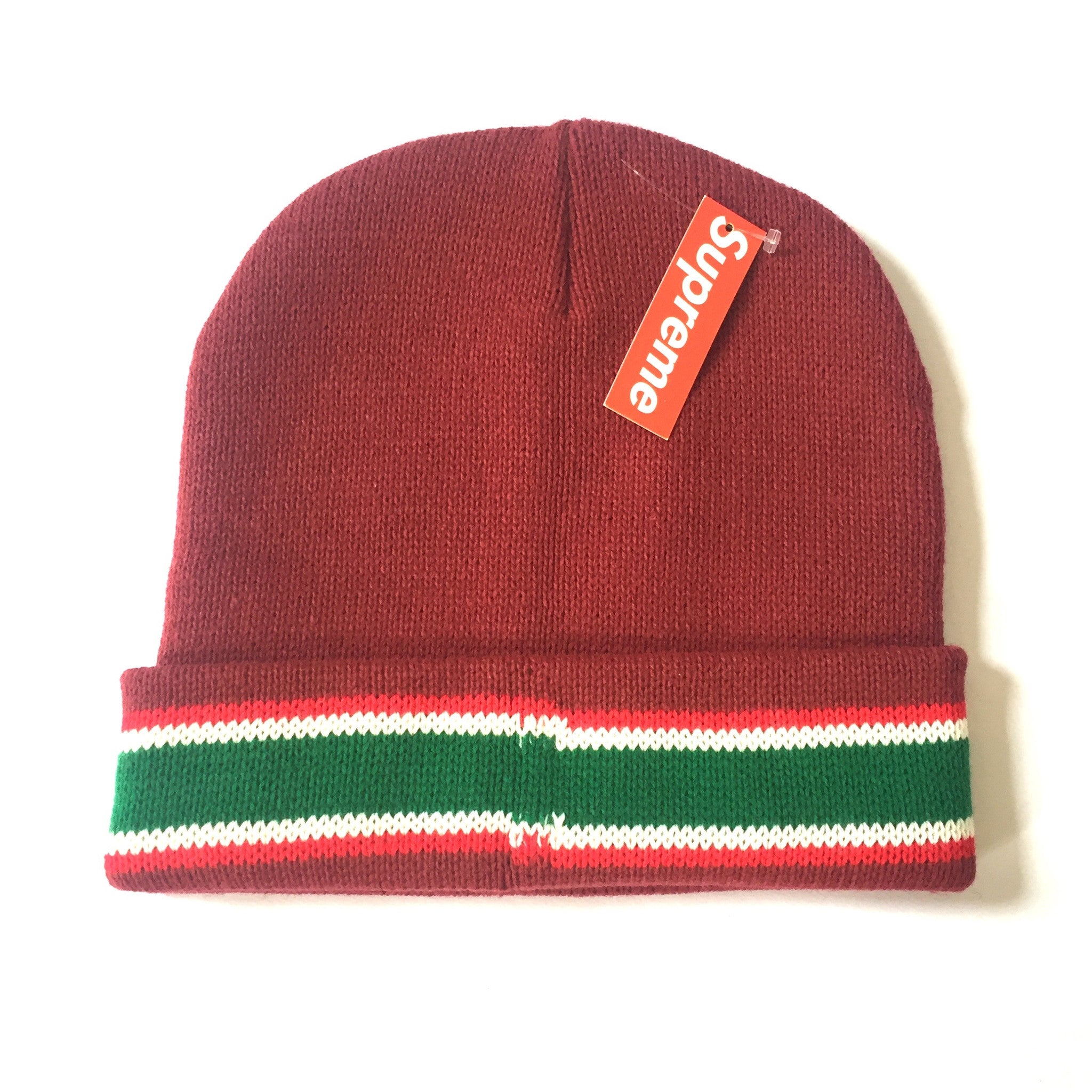 Supreme - Red Striped Box Logo Beanie