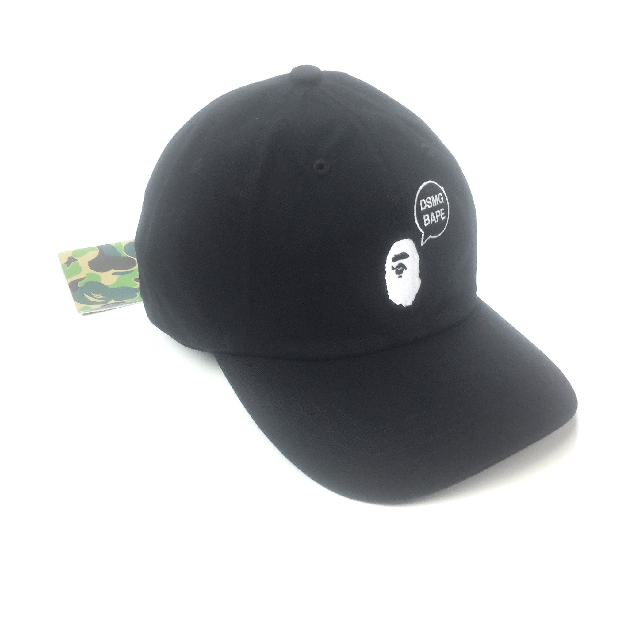 A Bathing Ape x DSM Ginza - Black Bape DSMG Logo Embroidered Dad Hat ... 38b6b5feeeb