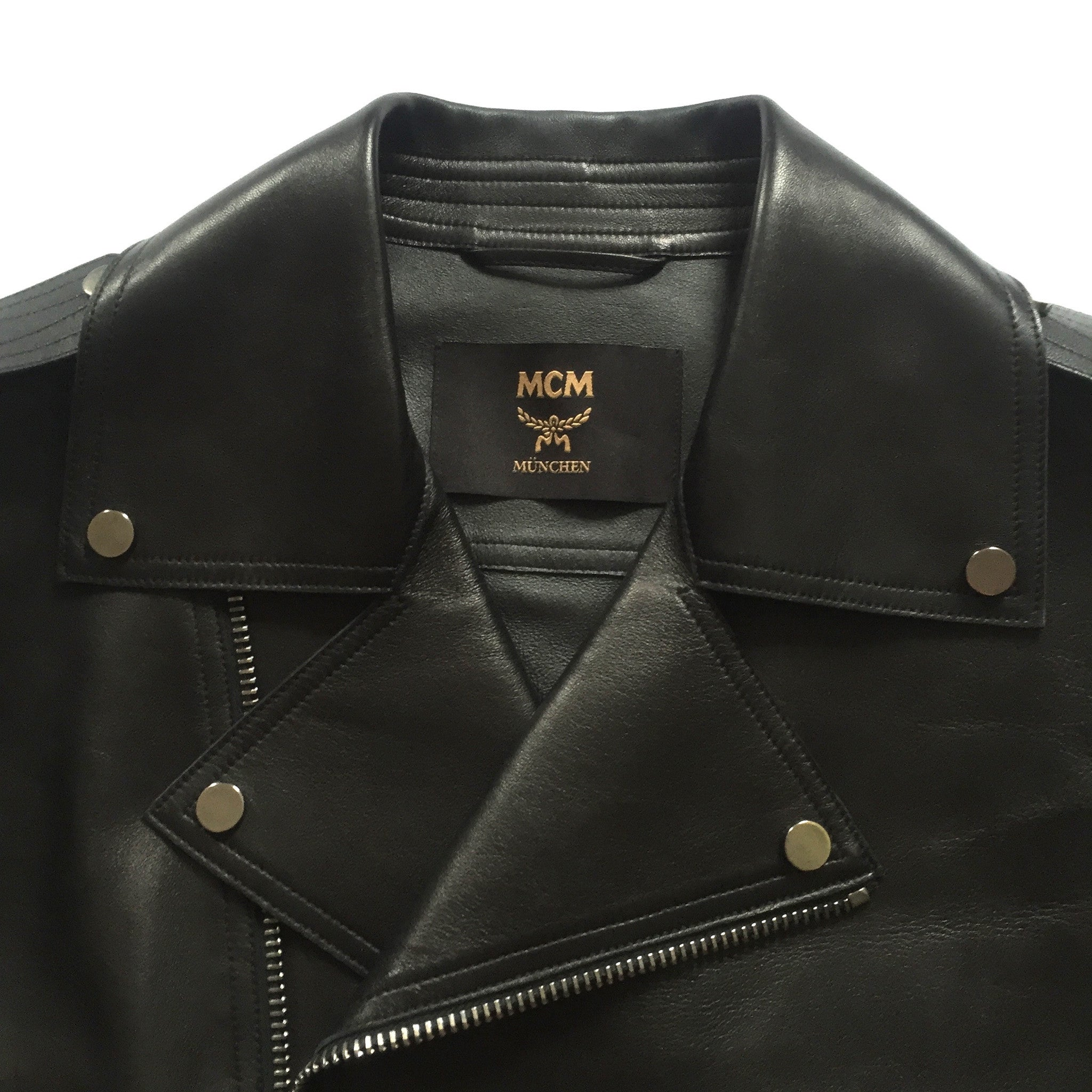 MCM - Black Leather Biker Jacket
