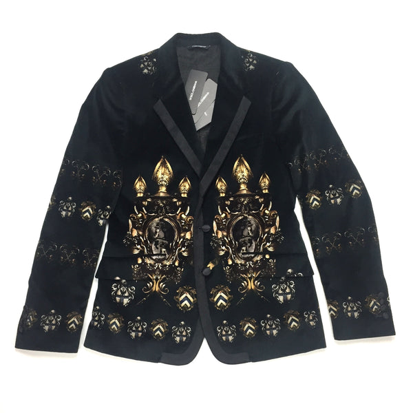Dolce & Gabbana - Coat of Arms Velvet Blazer