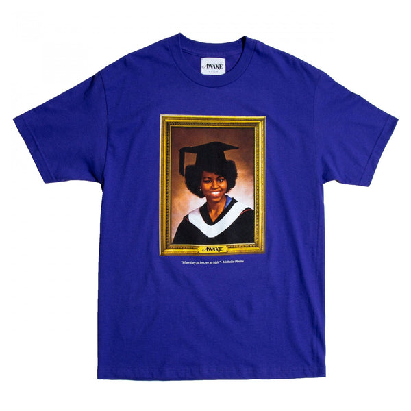 Awake NY - Purple Michelle Obama Portrait T-Shirt