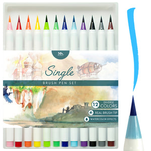 Single Brush Pens - 12 pcs