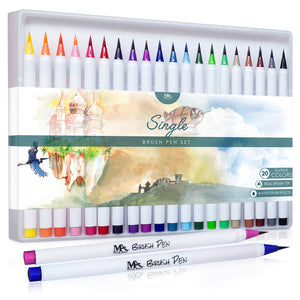 Single Brush Pens Set - 20 Colors