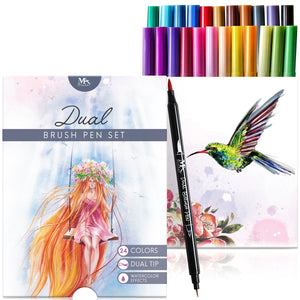 Dual Brush Pens - 12 Colors