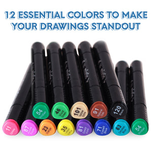 Alcohol Based Markers - Dual Tipped (12 Colors)
