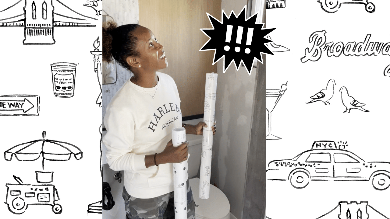 Bathroom Makeover Video: Watch This Small Bathroom Transform With With Peel And Stick Wallpaper!