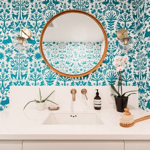 Bringing nature into your bathroom walls with removable wallpaper