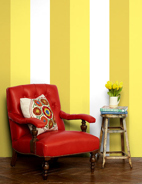 yellow daffodil mustard bold striped removable wallpaper cheap panel
