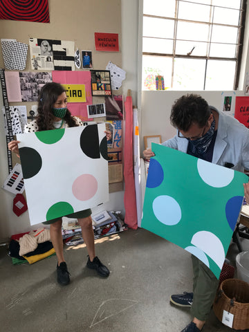 "Clare Vivier and Nathan Turner discuss the print ""Midcentury Dots"" from the Clare V. Vol. 2 x Wallshoppe collection. new"