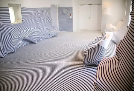 bizarre interior design trend the striped bathroom