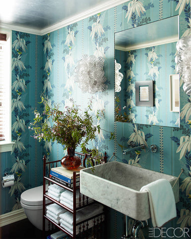 bold bright floral wallpaper for bathroom makeover