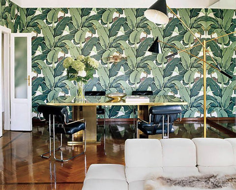 "one of the most recognizable wallpapers in the world…. ""The Original"" Martinique Banana Leaf wallpaper,"