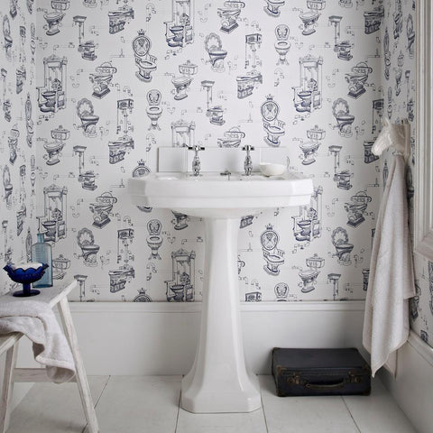 Small Bathroom Made To Look Big With Removable Wallpaper Idea