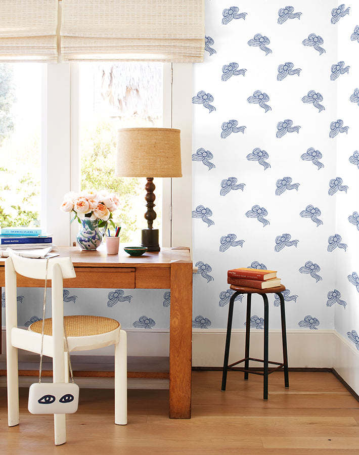 Bows Wallpaper - Navy - Wallshoppe
