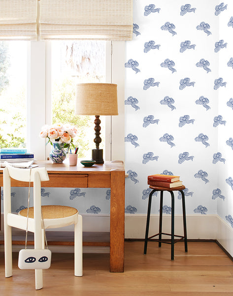 Bows Removable Wallpaper - Navy - Wallshoppe