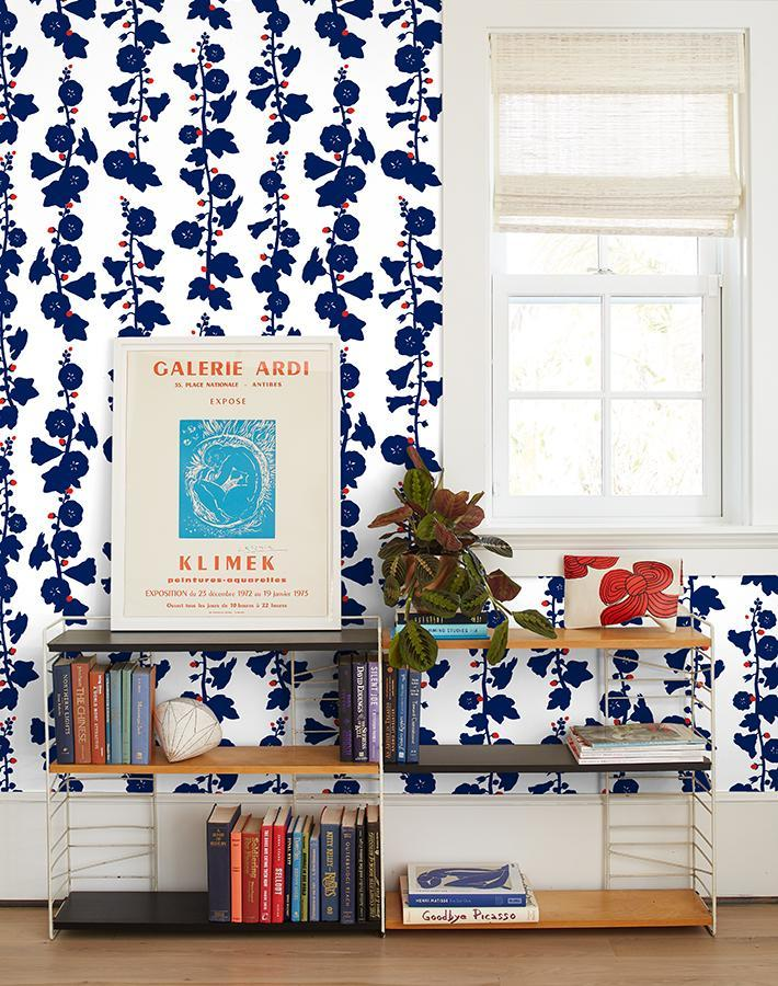 Hollyhock Navy Red  Wallpaper