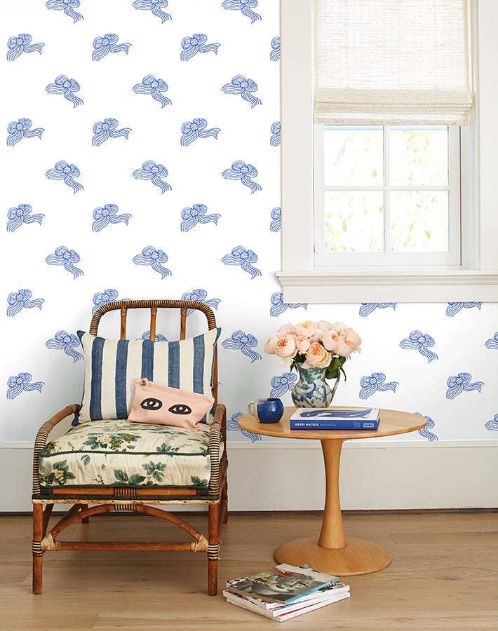 Bows Removable Wallpaper - Blue - Wallshoppe