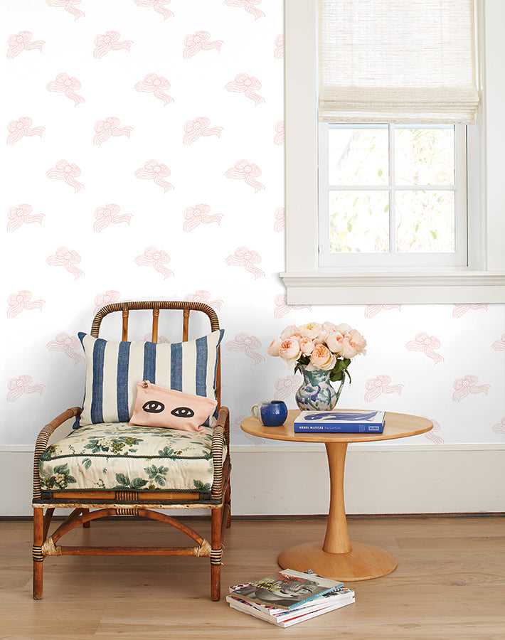 Bows Removable Wallpaper - Pink - Wallshoppe