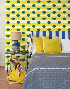 Lotus Stripe Yellow  Wallpaper