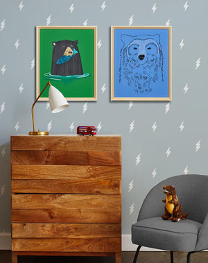 Artshoppe A Bear And His Fish by Tea Collection
