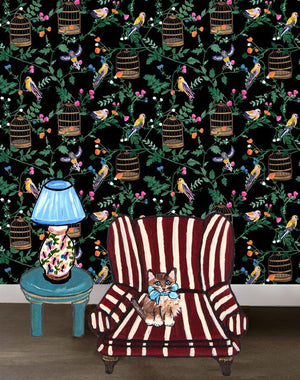 Ann's Garden - Black Wallpaper by Carly Beck - Wallshoppe Removable & Traditional Wallpaper