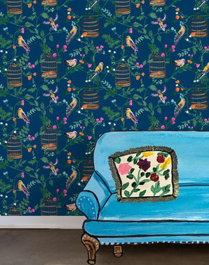 Ann's Garden - Deep Navy Wallpaper by Carly Beck - Wallshoppe Removable & Traditional Wallpaper