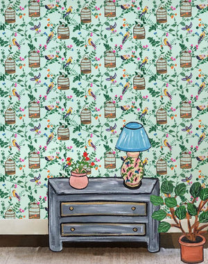 Ann's Garden - Robins Egg Wallpaper by Carly Beck - Wallshoppe Removable & Traditional Wallpaper