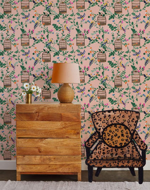Ann's Garden - Salmon Wallpaper by Carly Beck - Wallshoppe Removable & Traditional Wallpaper