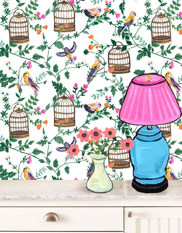 Ann's Garden - White Wallpaper by Carly Beck - Wallshoppe Removable & Traditional Wallpaper