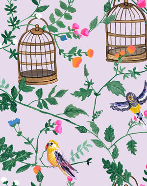 Ann's Garden - Lavender Wallpaper by Carly Beck - Wallshoppe Removable & Traditional Wallpaper