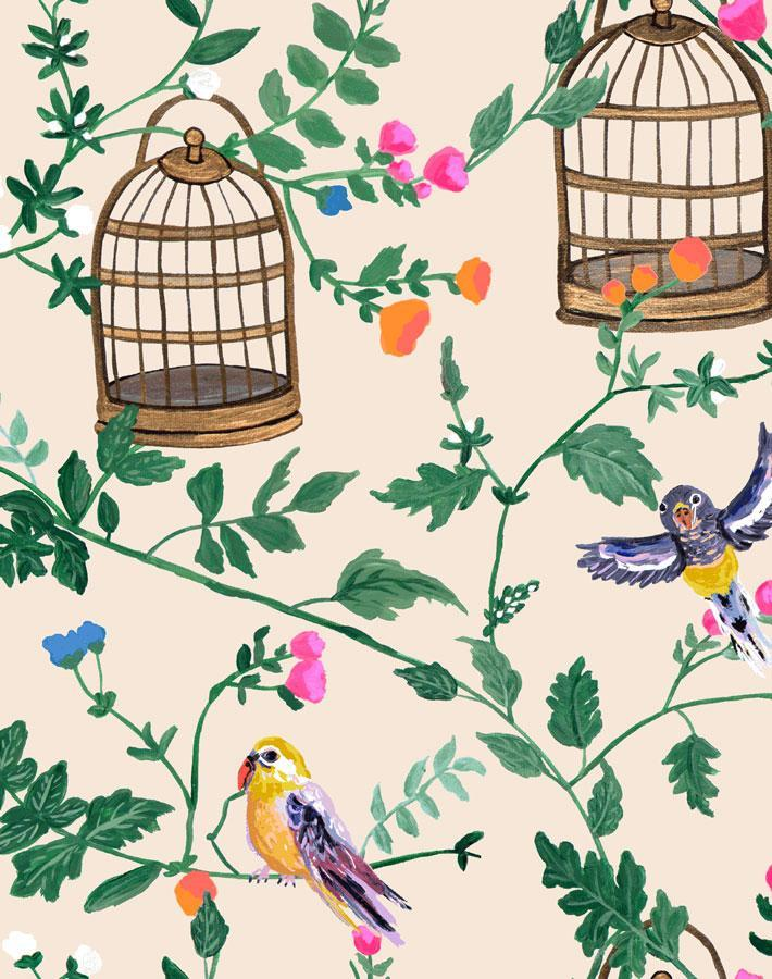 Ann's Garden - Peach Wallpaper by Carly Beck - Wallshoppe Removable & Traditional Wallpaper