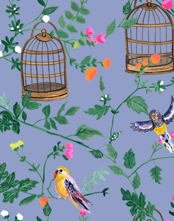 Ann's Garden - Periwinkle Wallpaper by Carly Beck - Wallshoppe Removable & Traditional Wallpaper