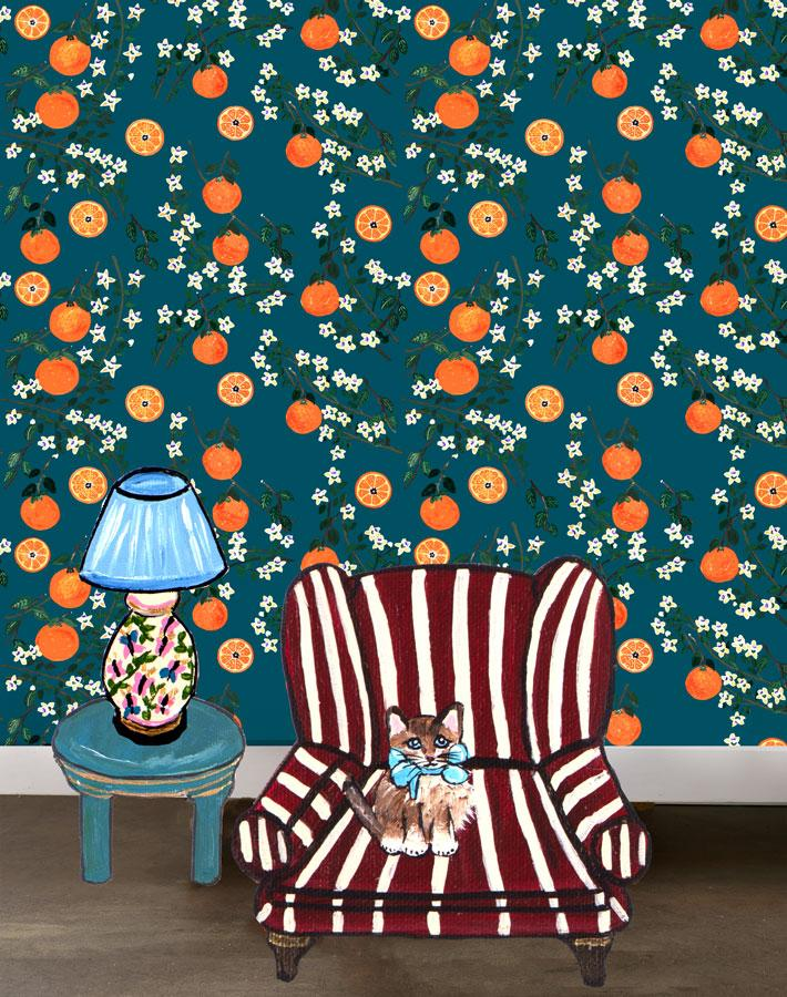 Arance Dolci - Peacock Wallpaper by Carly Beck - Wallshoppe Removable & Traditional Wallpaper