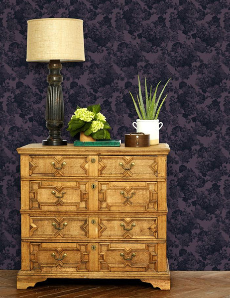 Barbara Ann Wallpaper- Aubergine