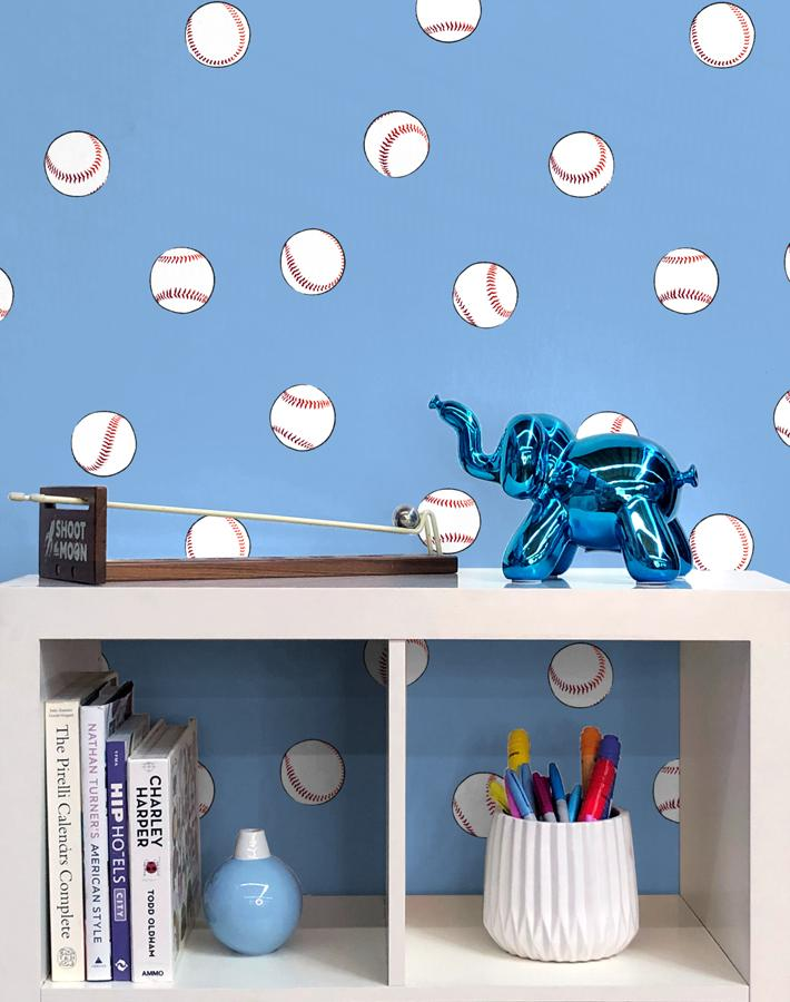 Baseball Toss Wallpaper - Denim - Wallshoppe